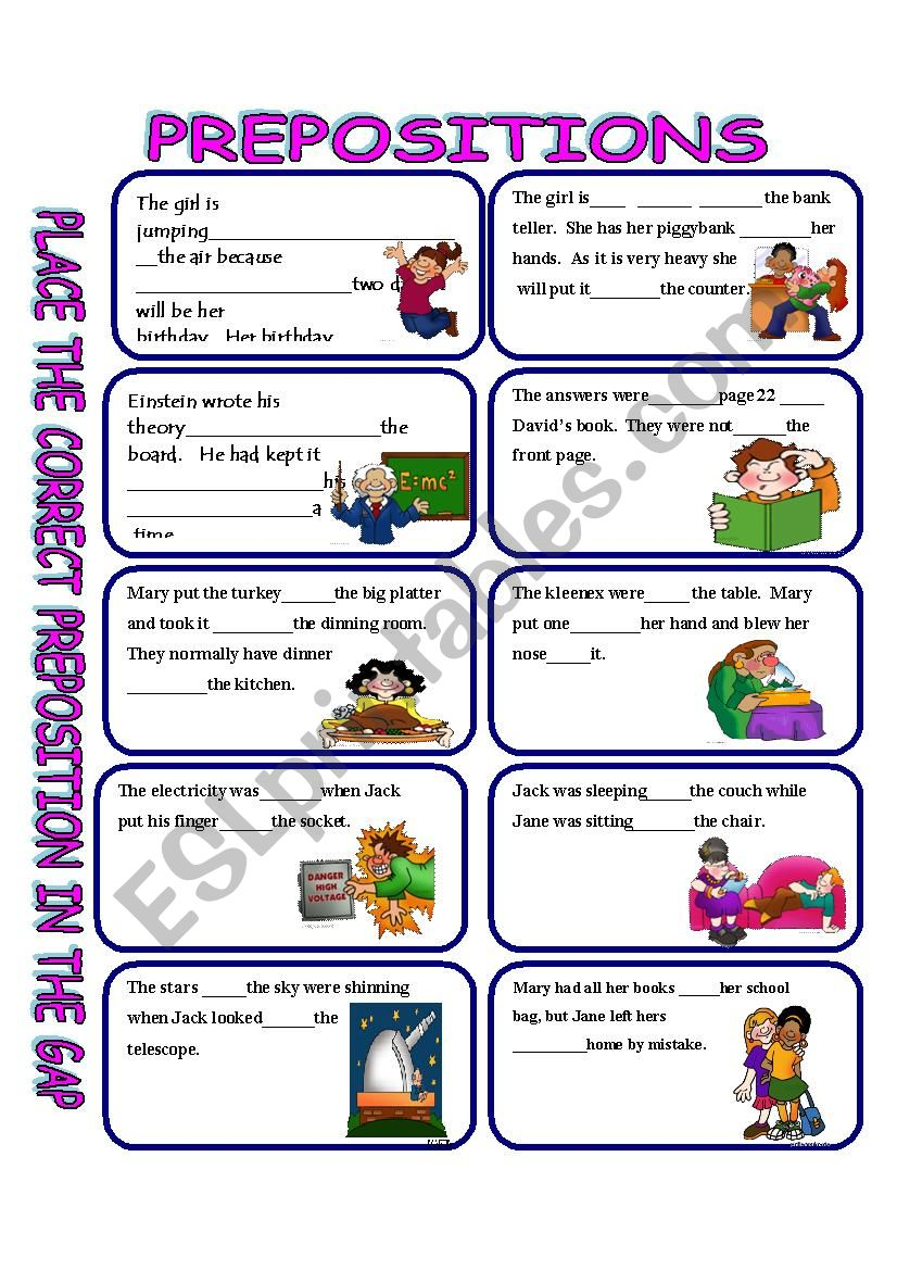 Prepositions With Answer Key