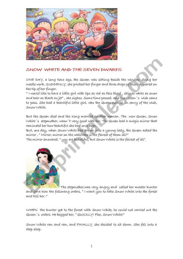 SNOW WHITE AND THE SEVEN DWARFS - ESL worksheet by bluedoll