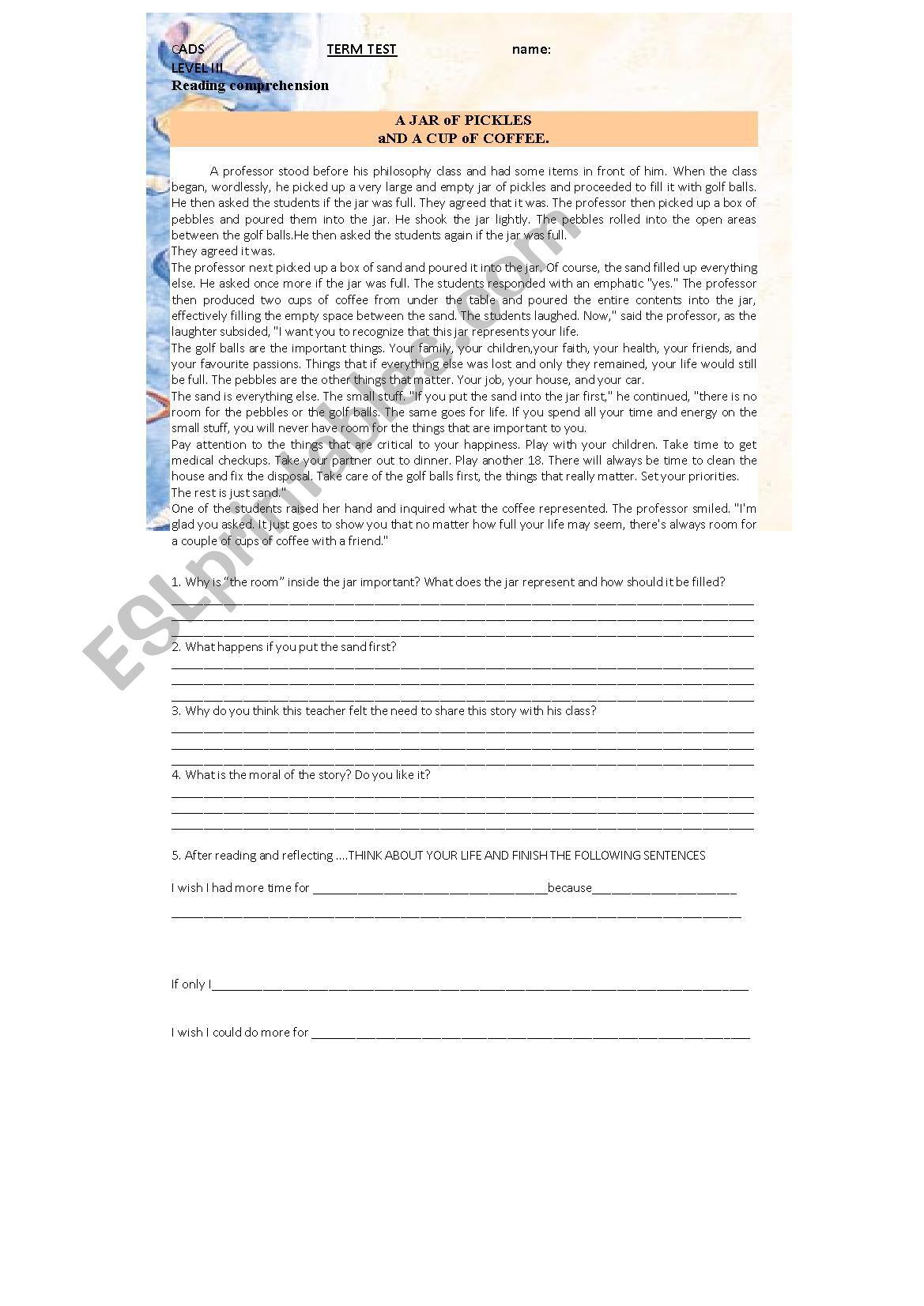 Test Intermediate Level Reading Grammar And Writing