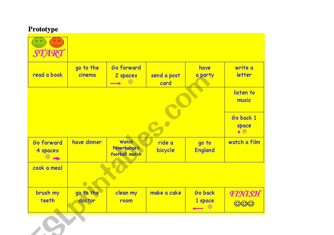 English Worksheets Dice Game Present Simple