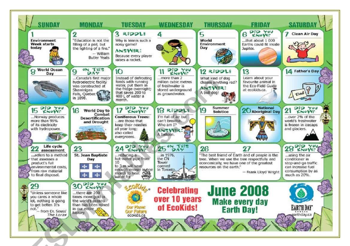 Environment Calendar Warm Up