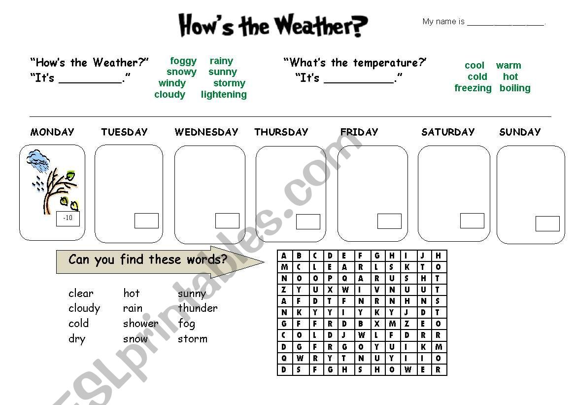 How S The Weather Forecast Listening Amp Activity Sheet