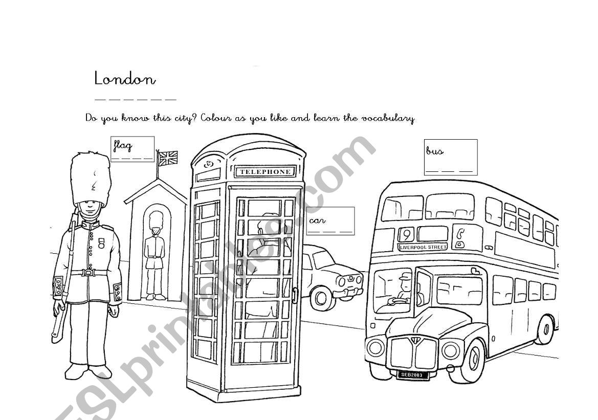 London Colouring Worksheet For Small Children