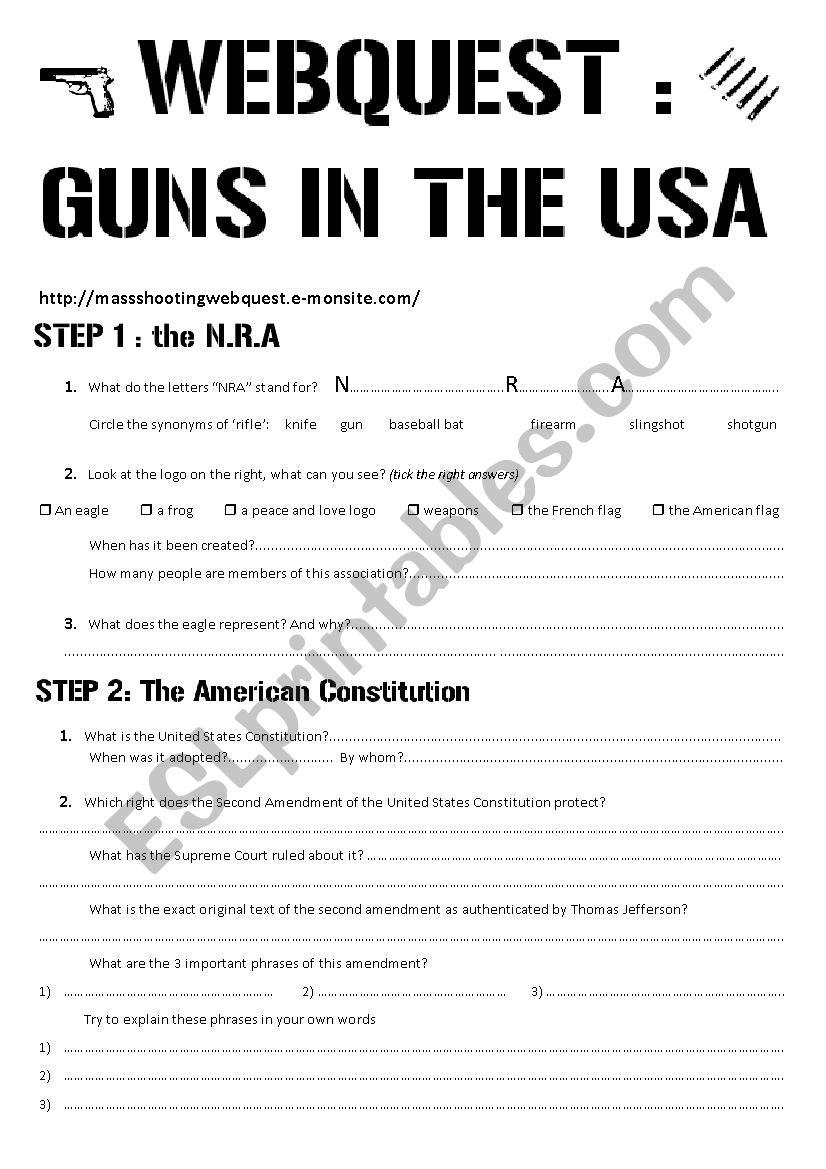 Guns Webquest Worksheet