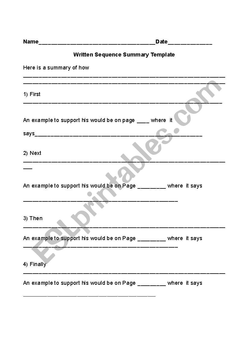 Sequencing And Summarizing Outline