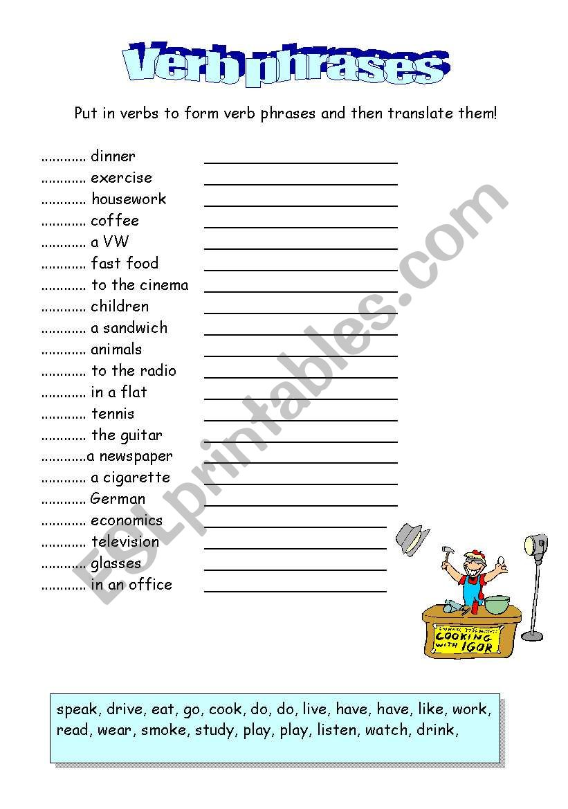 English Worksheets Verb Phrases 2