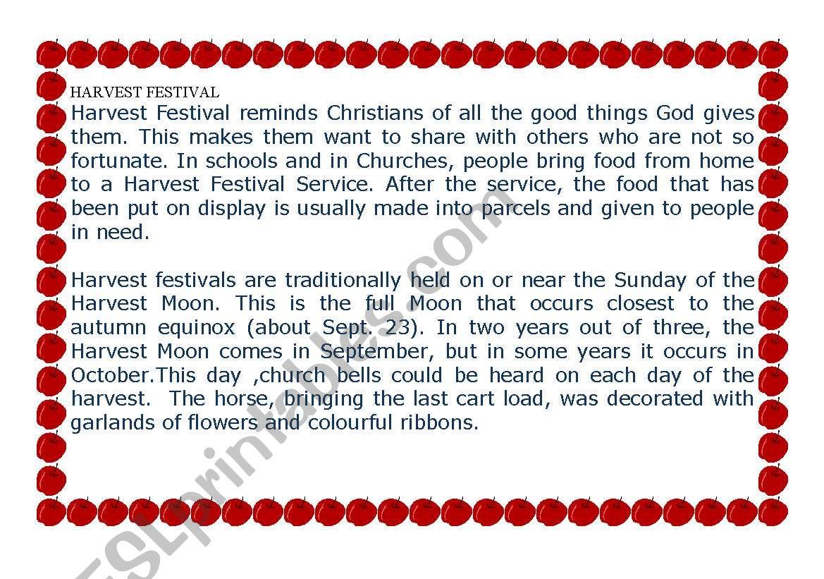 English Worksheets Harvest Festival