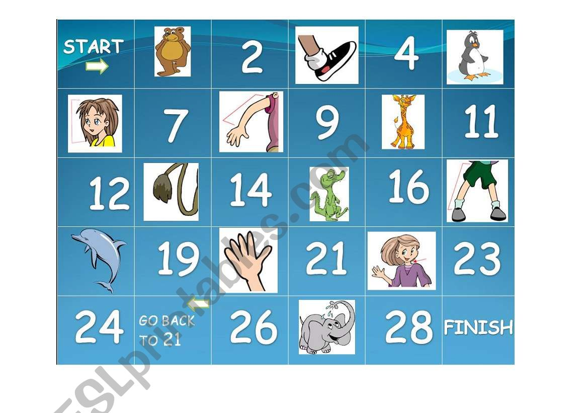 Body Parts Animals Board Game