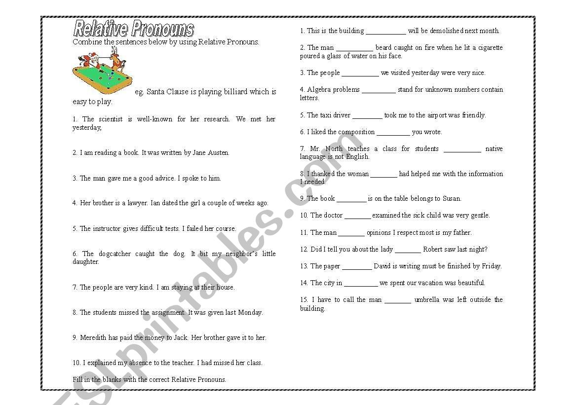 Relative Clause Exercise