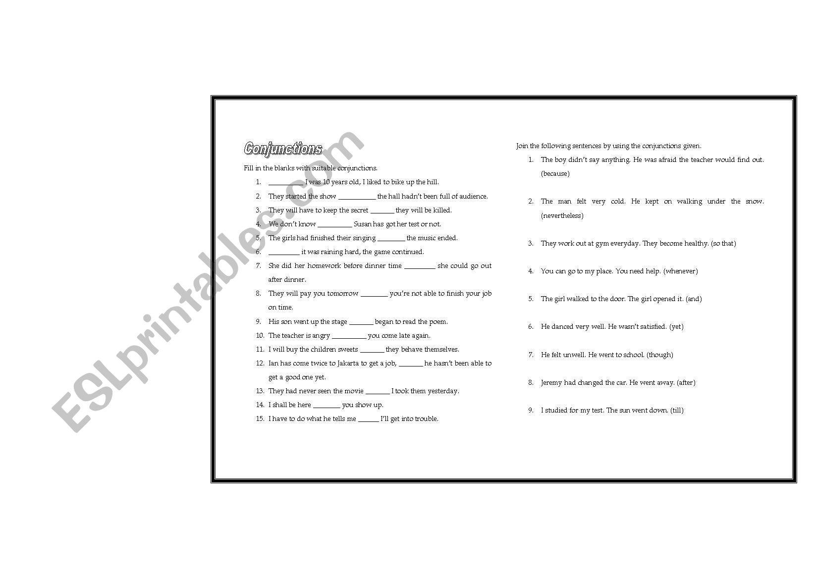 50 Advance Conjunction Questions