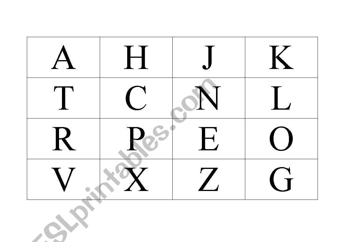 English Worksheets Alphabet Bingo