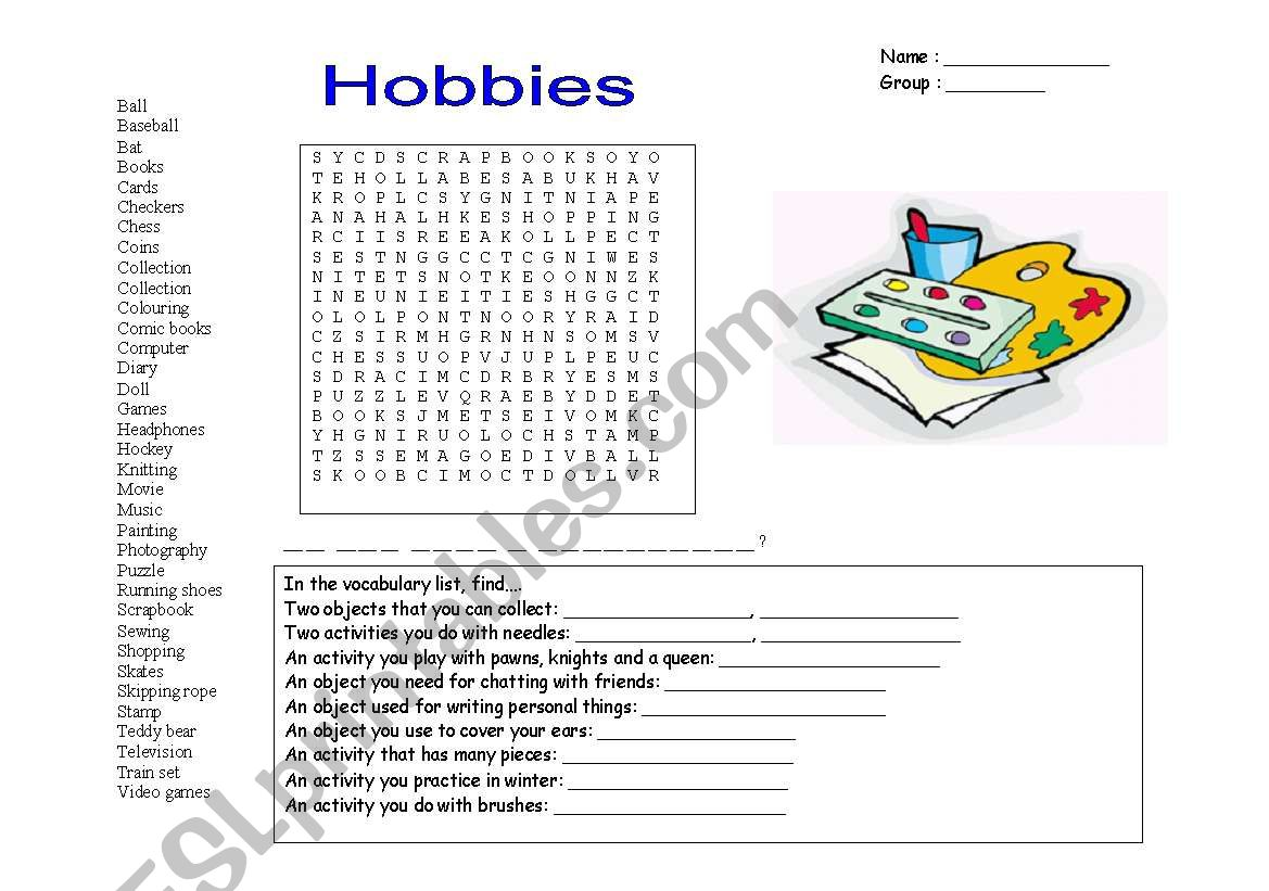 Hobbies Wordsearch