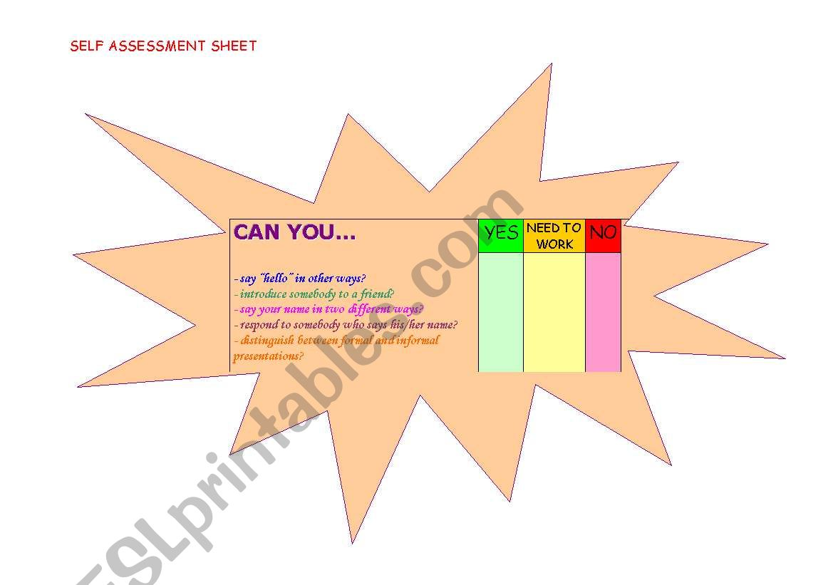 English Worksheets Student S Self Assessment Sheet