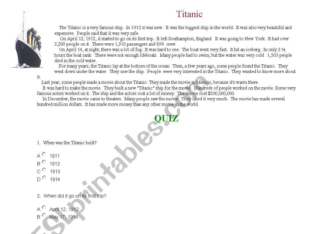 Titanic Comprehension Exercise Quiz Style
