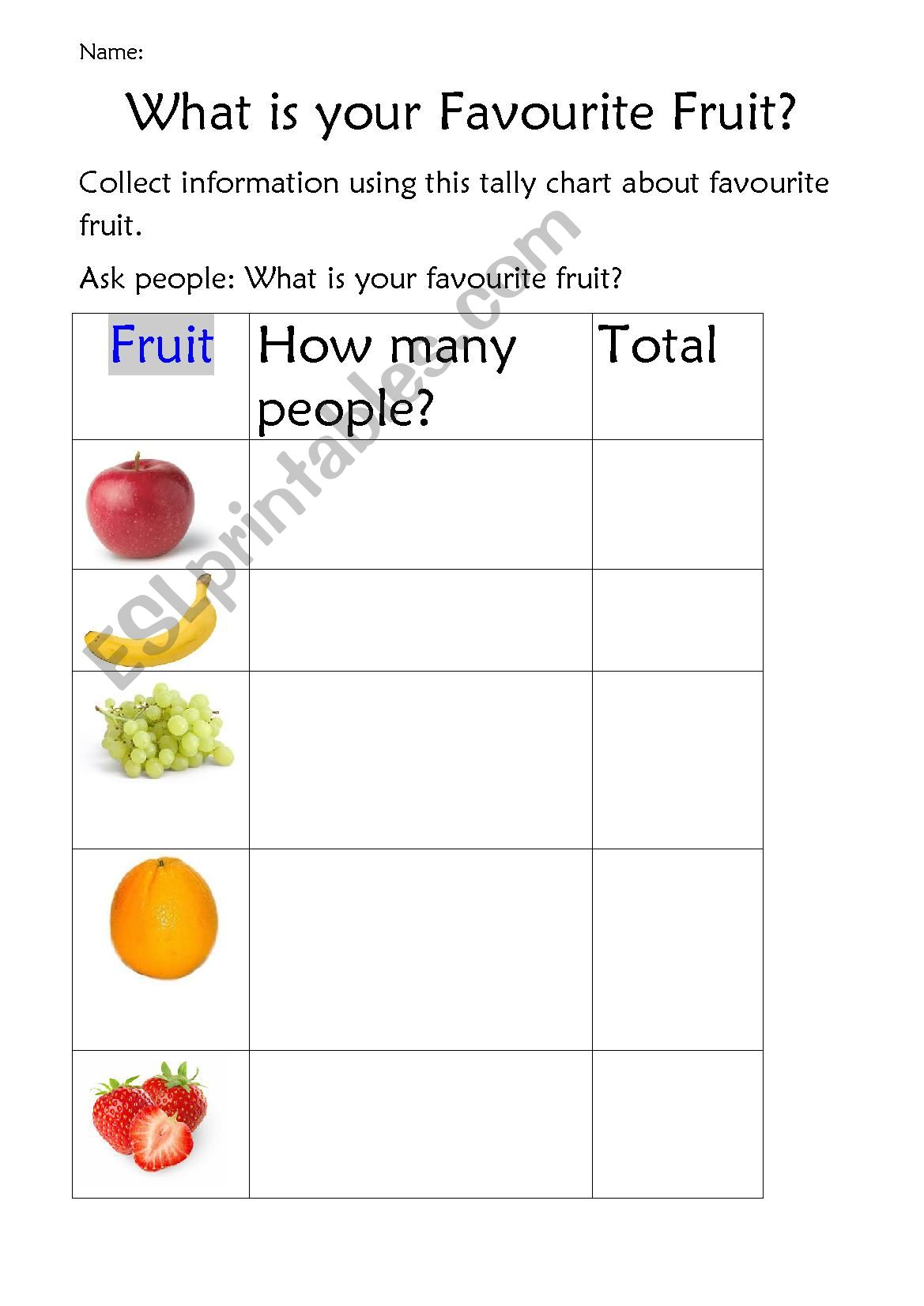 Tally Chart Of Favourite Fruit
