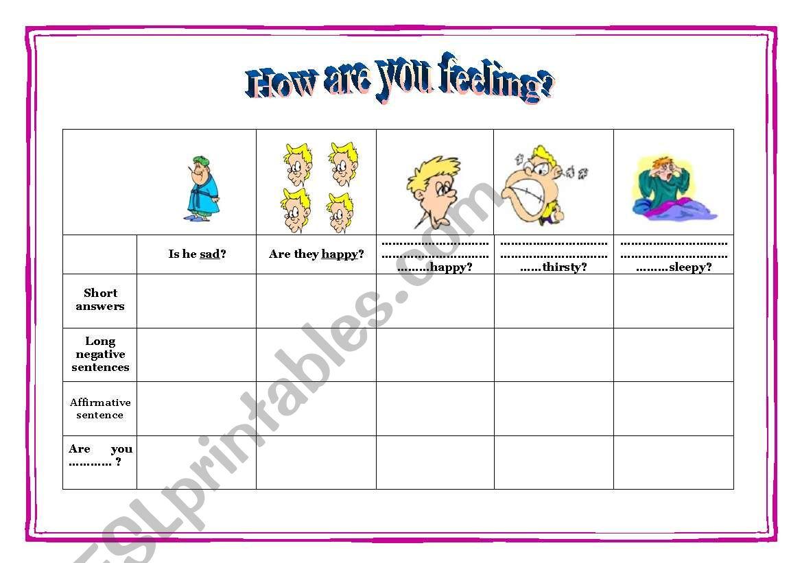 Feelings Chart For Speaking Writing