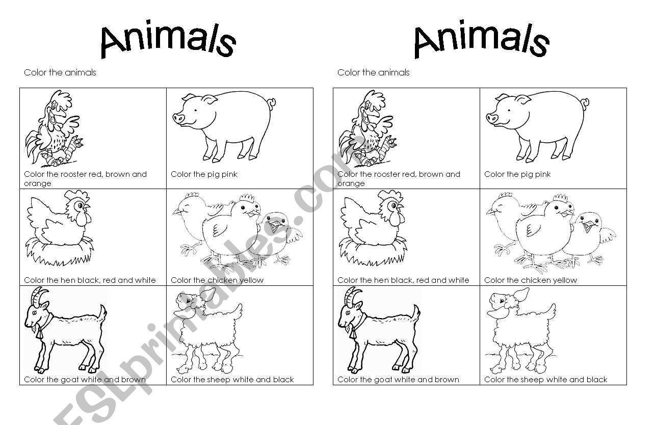 English Worksheets Color Farm Animals