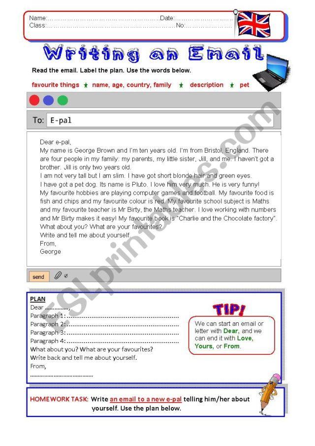 Writing an Email - ESL worksheet by vickyvar