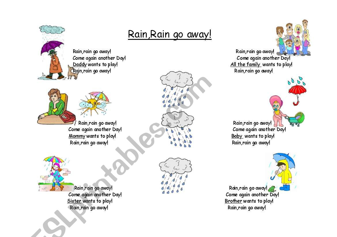 Rain Rain Go Away A Great Song To Teach