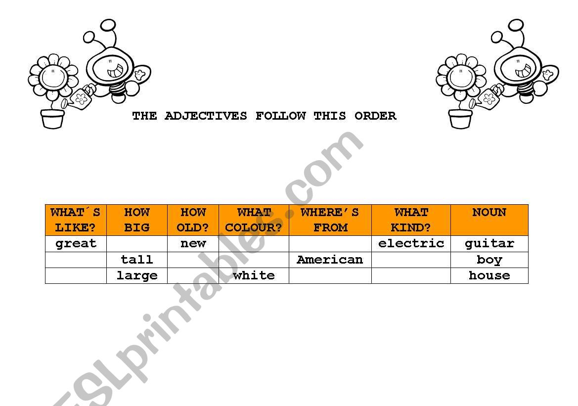 English Worksheets Position Of Adjectives Answer Sheet