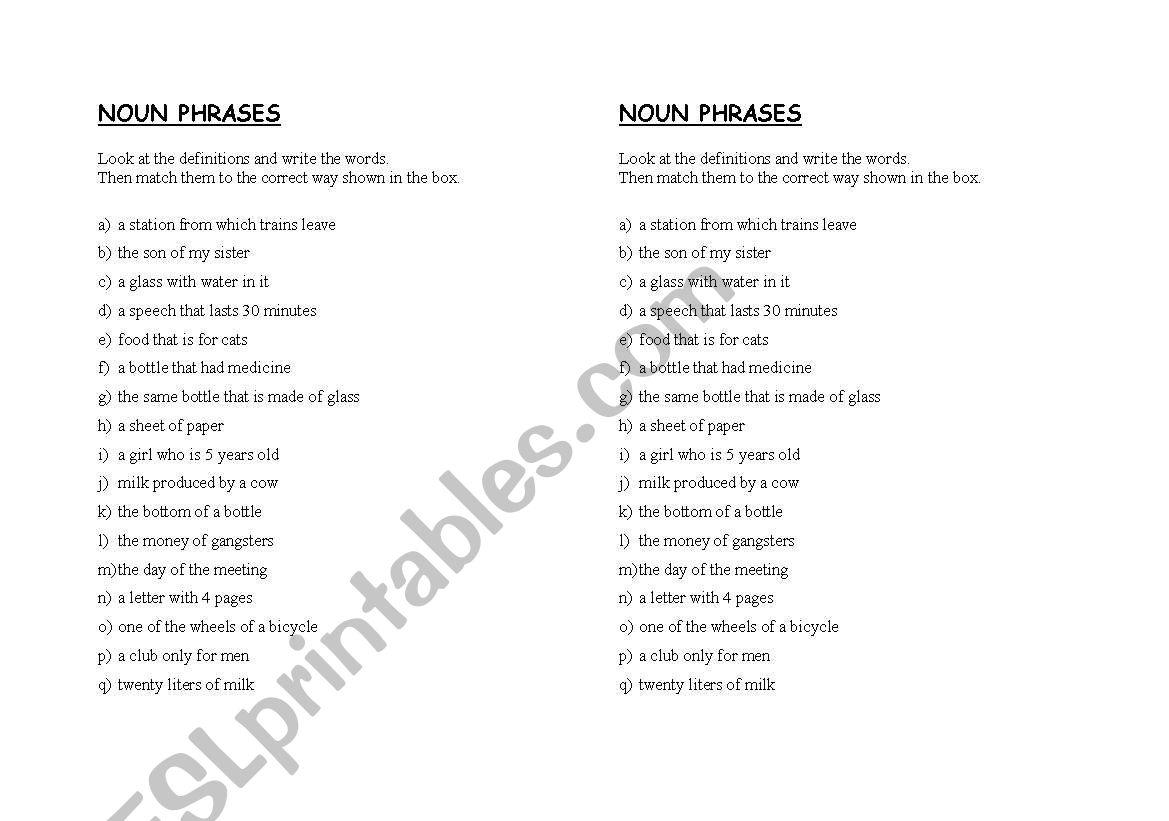 Prepositional Phrases Nouns Worksheet