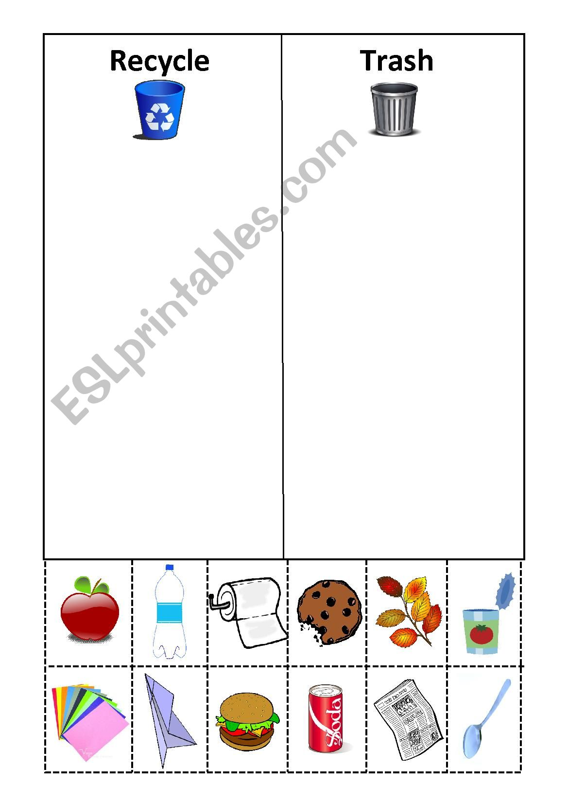 Recycle Cut And Paste Worksheets