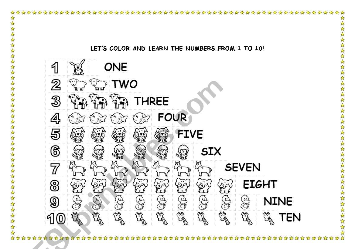 English Worksheets Counting 1 To 10
