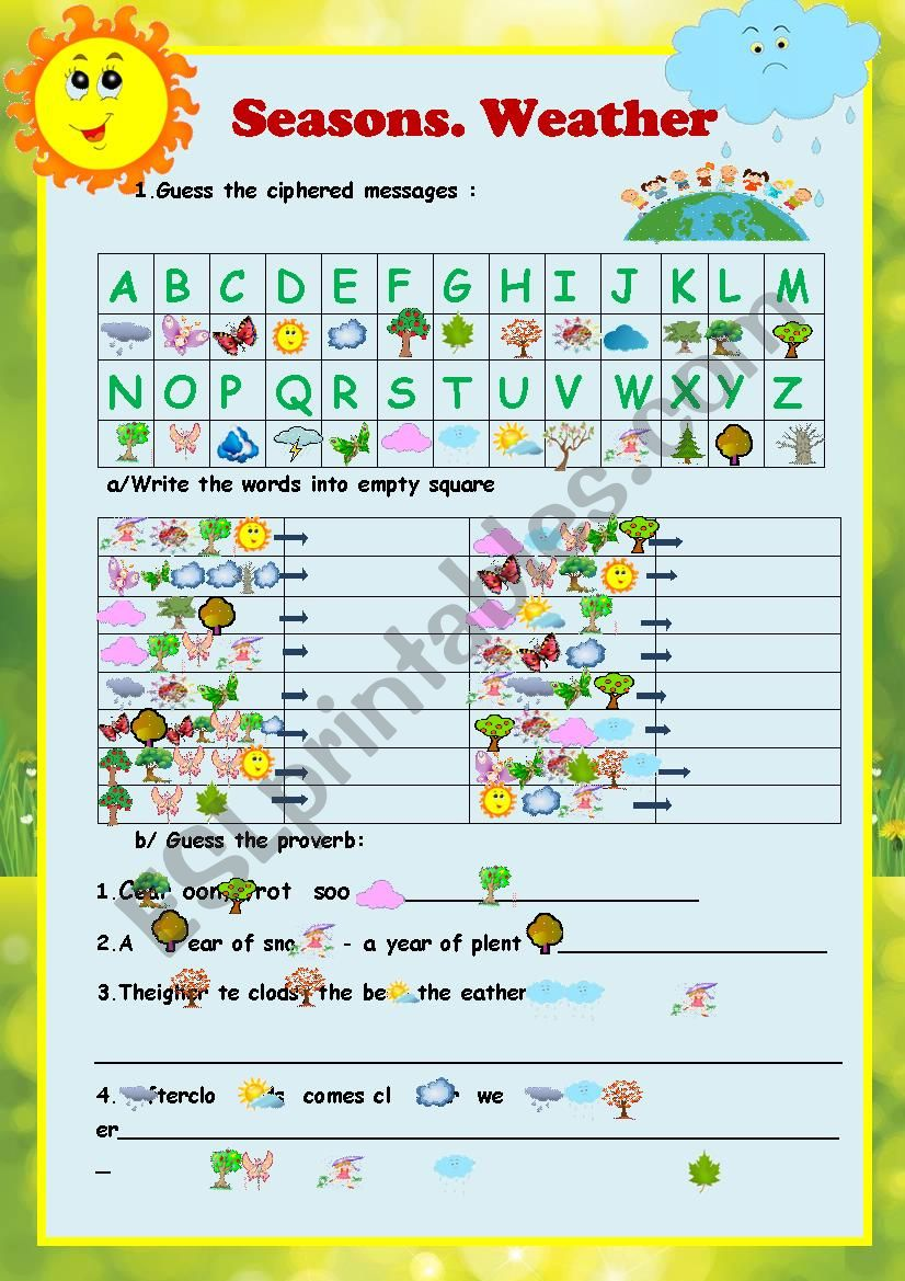 Cryptogram Seasons Weather 2 Pages