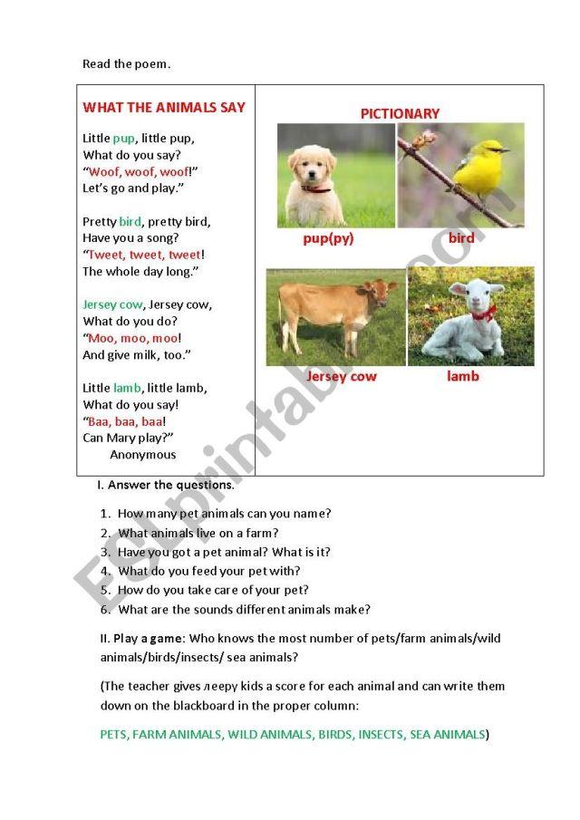 WHAT THE ANIMALS SAY (a poem) - ESL worksheet by korova-daisy
