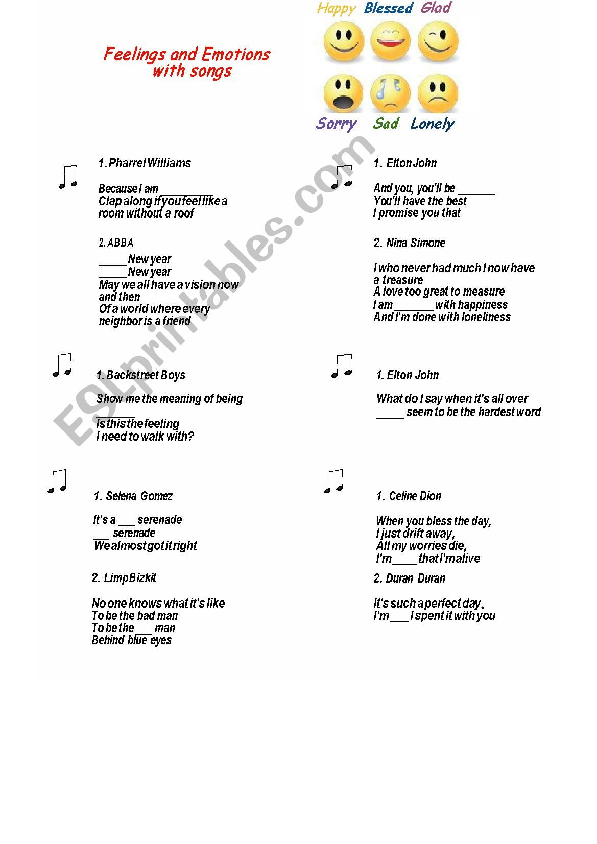 Feelings And Emotions With Songs