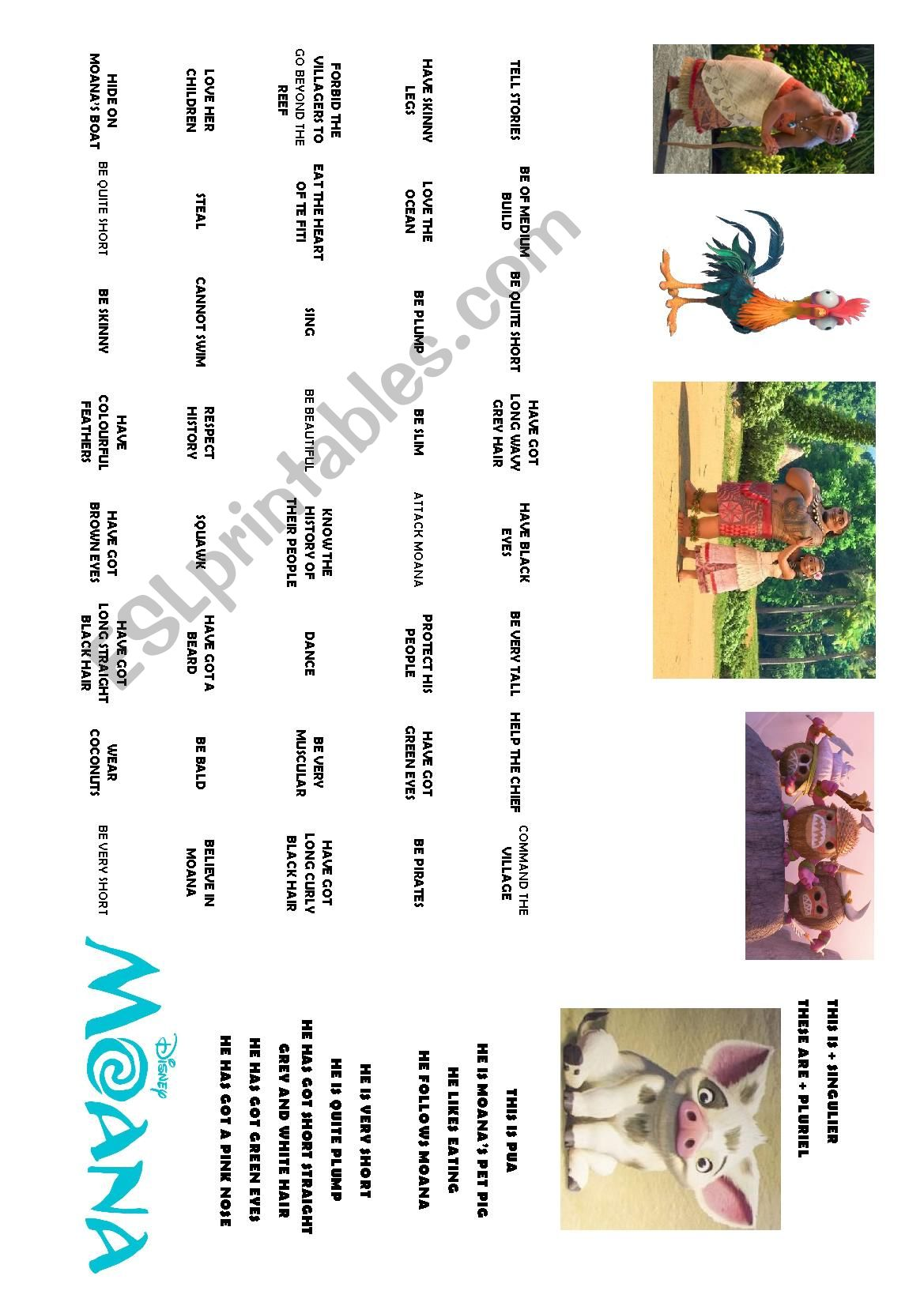 Moana Vaiana Worksheet 3 Describing The Character