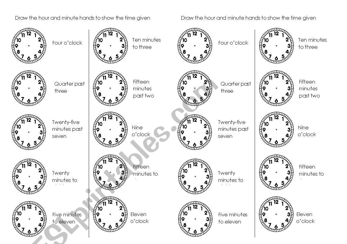 Draw The Hour And Minute Hands