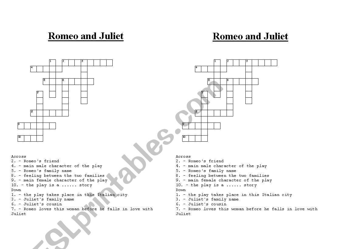 Crosswords On Romeo And Juliet