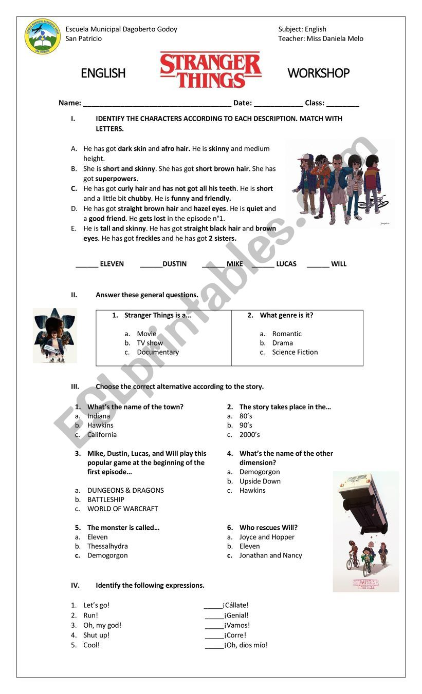 Stranger Things Worksheet