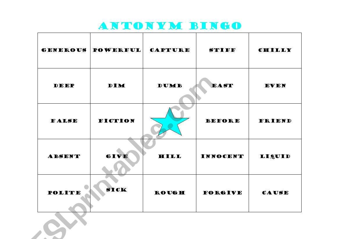 English Worksheets Antonym Bingo Card 1