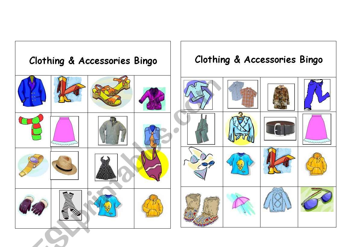 Clothing Amp Accessories Bingo Games 2 Of 12