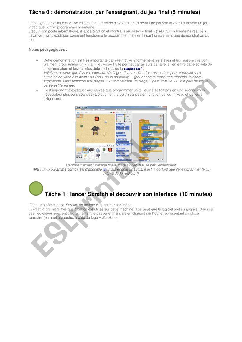 english worksheets programmation avec