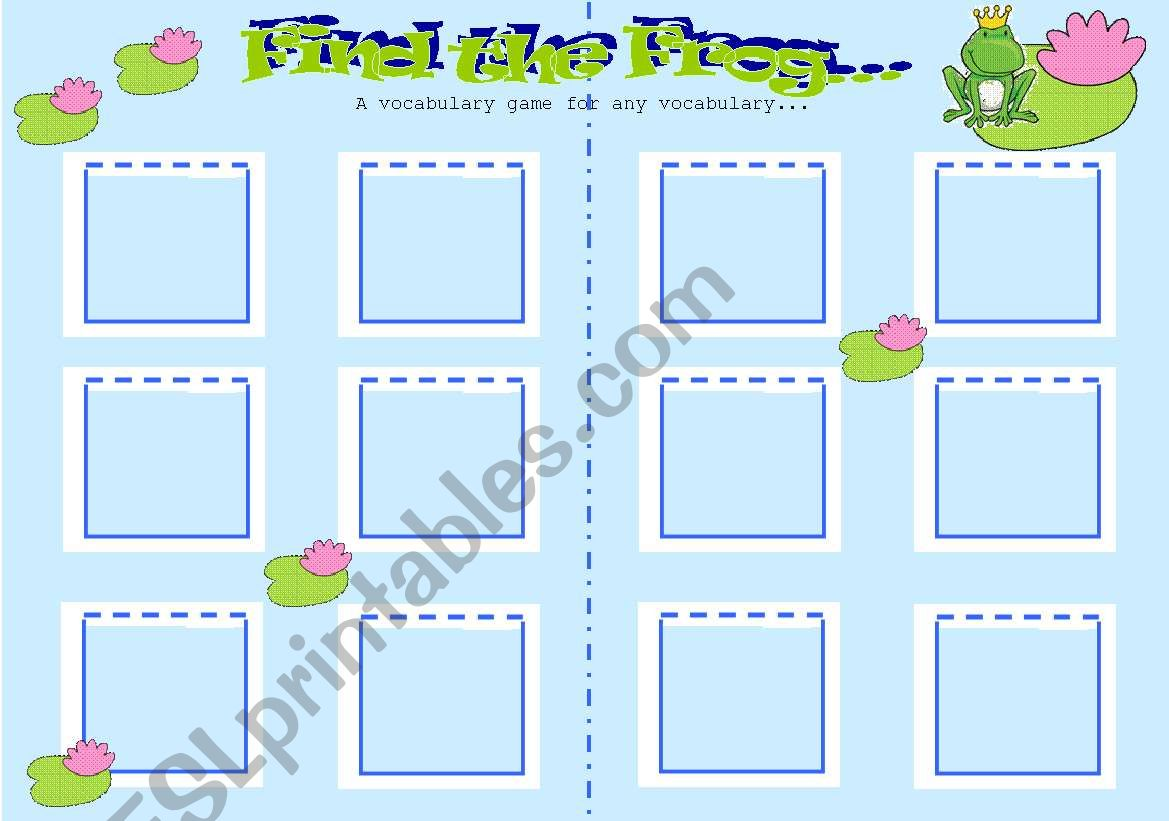 Find The Frog Vocabulary Game For Any Vocabulary