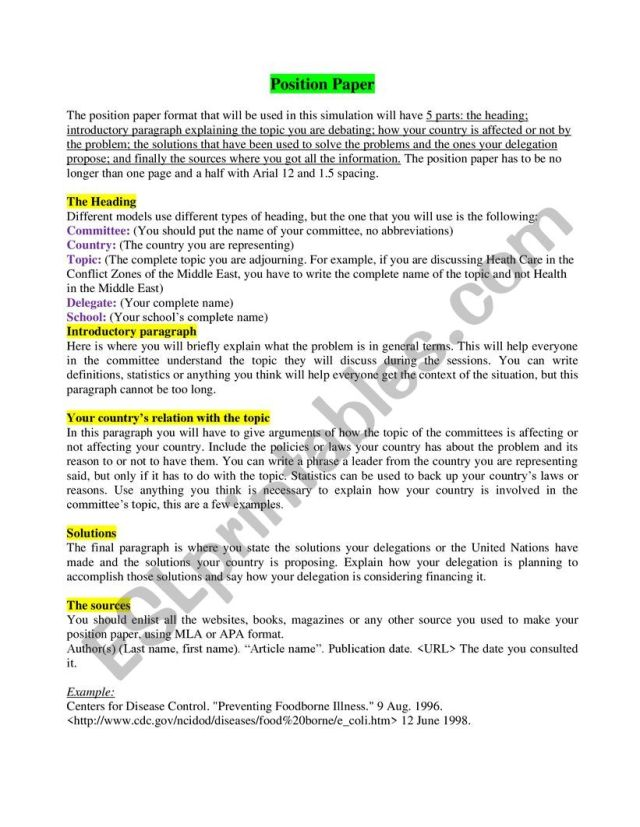 English worksheets: How to Write a Position Paper in MUN