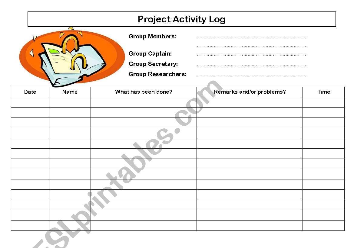 English Worksheets Project Activity Log