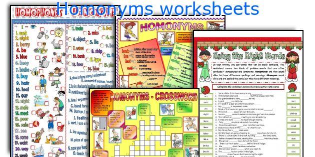 English Teaching Worksheets Homonyms