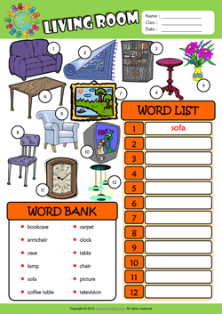 Vocabulary words for living room for Living room furniture layout worksheet