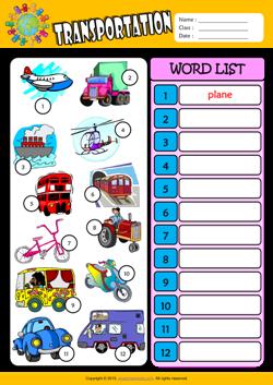 Transportation Esl Printable Worksheets For Kids 3