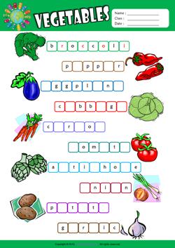 Vegetables Esl Printable Worksheets For Kids 2