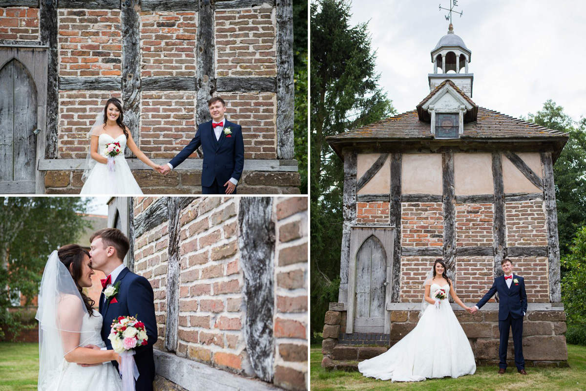 old building bride and groom quirky brockencote hall wedding