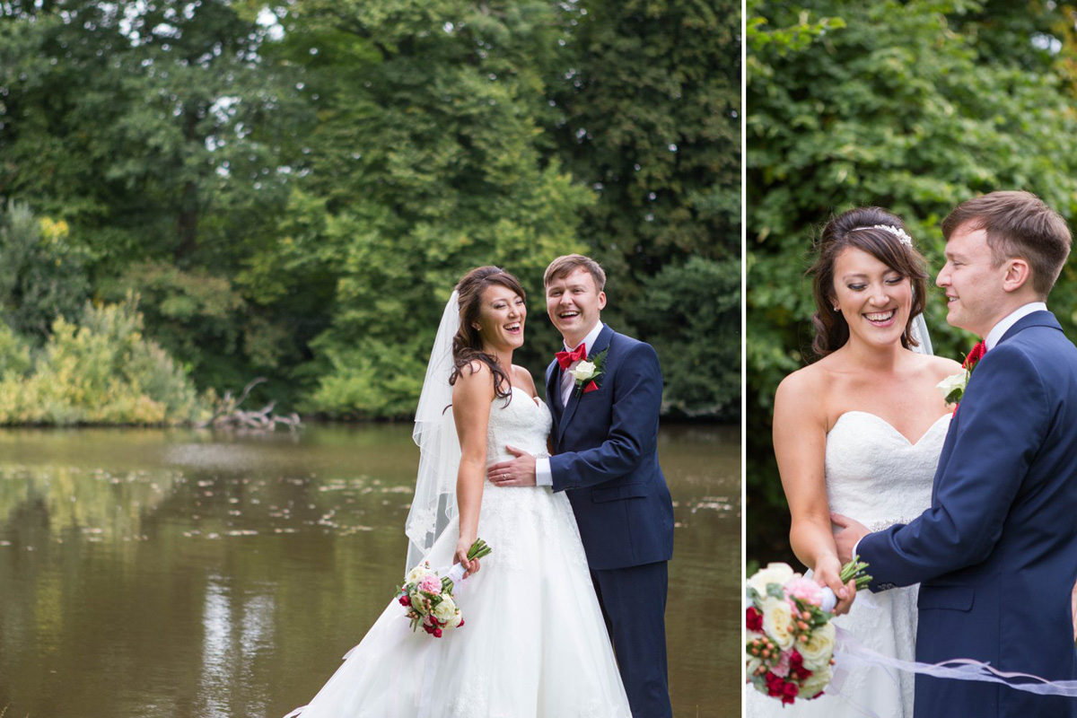 bride and groom by lake at Brockencote Hall