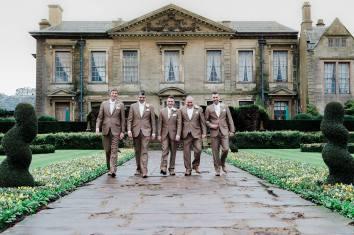 groomsmen fawn suit brown