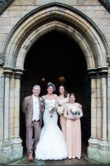 bridal party in church doorway wedding ceremony st john baptist Wolvey
