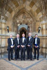groomsmen ettington park hotel doorway before ceremony