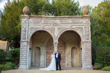 bride and groom at orangery ettington park wedding